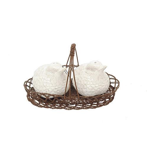 Ceramic Bird Salt & Pepper Shaker Basket
