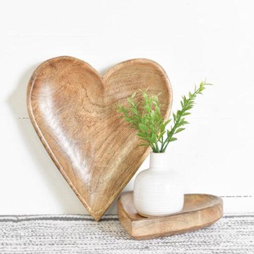 Wood Heart  Tray Set of 2