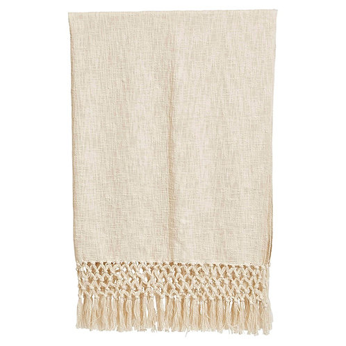 Woven Fringe Cotton Throw, Cream Color