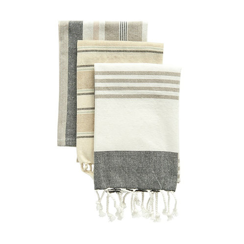 Cotton Striped Tea Towels, Set of 3
