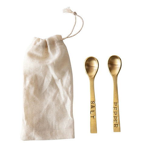 Salt & Pepper Brass finish spoons