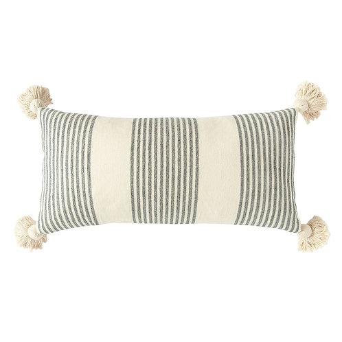 Striped Lumbar Pillow w/ Tassels