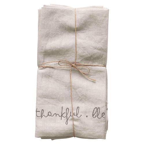 Cotton/Linen Blend Napkins  Grateful. Thankful. Blessed (Set of 4)