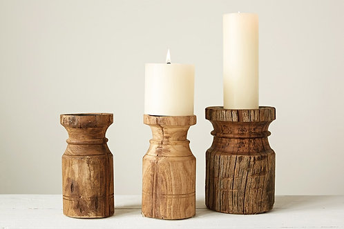 Carved Wood Candle Holder