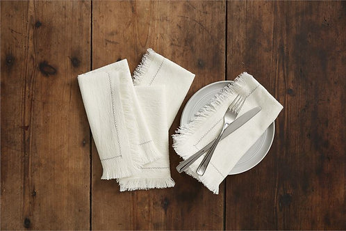 Fringe Stitching Detail Napkins Set of 4