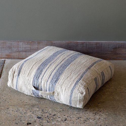 Natural/Blue Linen Stripe Floor Cushion