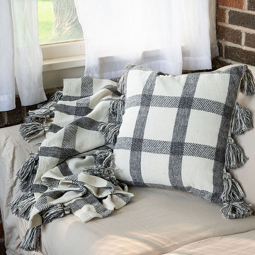 Classic black and white Plaid Pillow