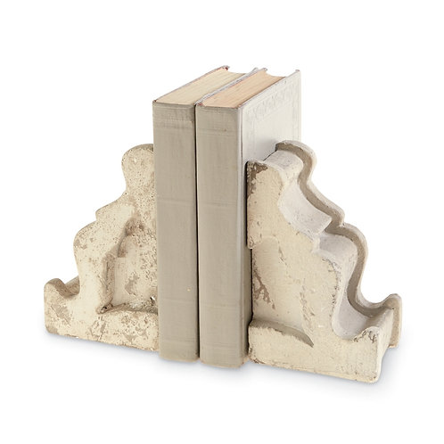 Corbel White-wash Distressed Bookend Set