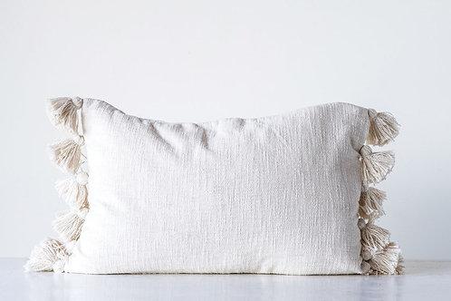 Cream Pillow w/Tassels