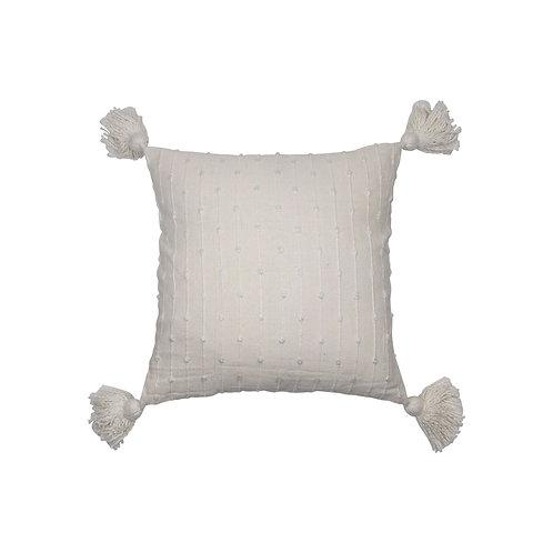 Simple Textured Pillow w/Tassels