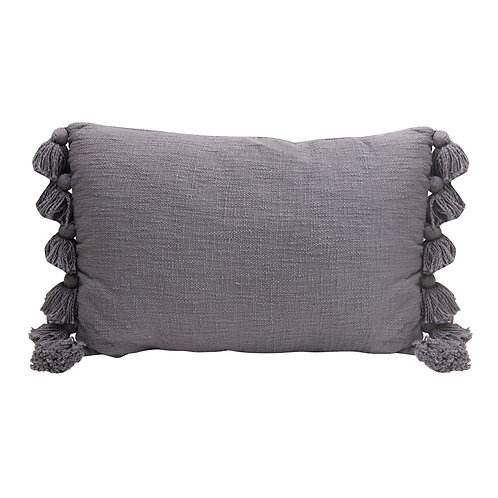 Lumbar Pillow with Tassels, Grey