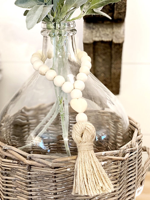 Wood Beads with Jute Tassel