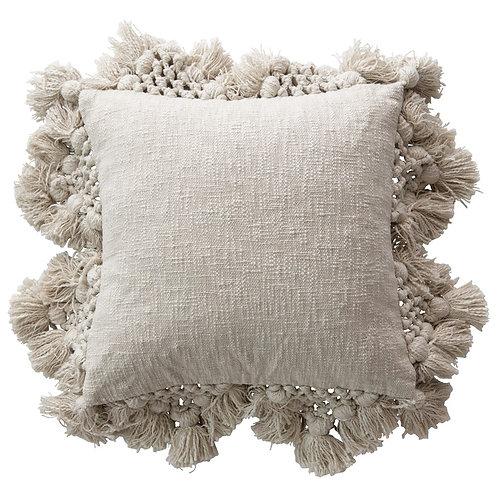 Cotton Slub Pillow with Crochet & Tassels