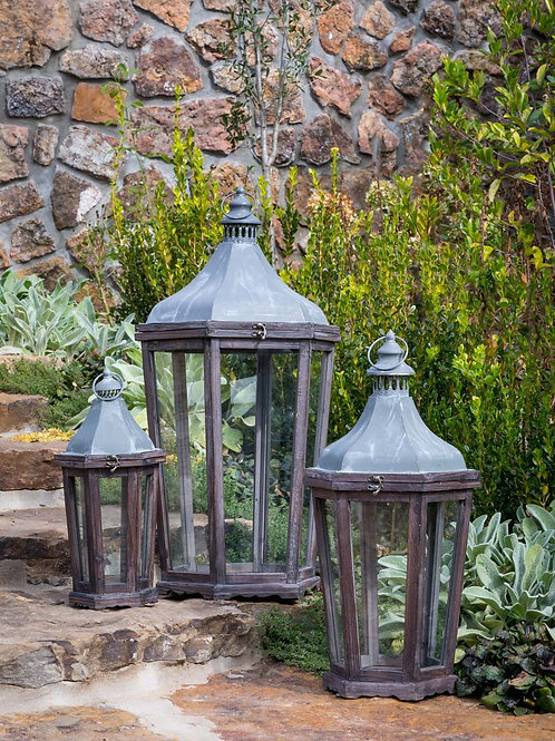 Wood & Galvanized Lanterns, Set of 3