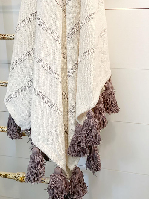 Striped Throw w/Tassels, White/Grey
