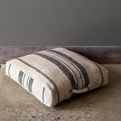 Natural/Black Linen Stripe Floor Cushion