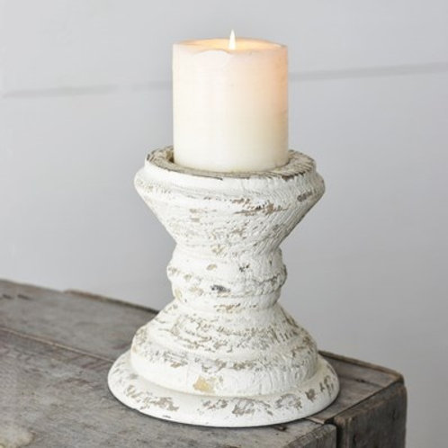 White Distressed Candle Holder