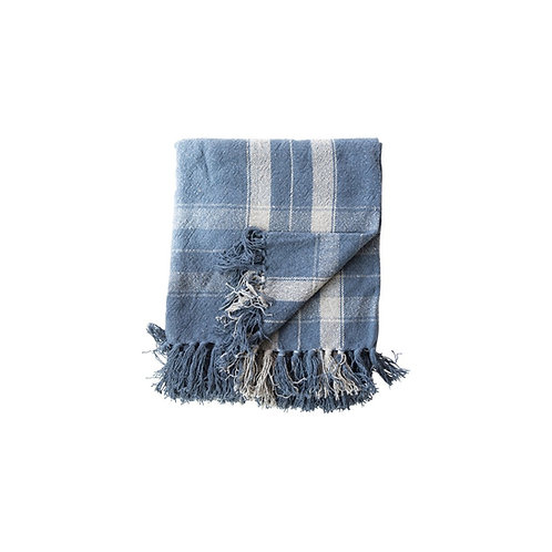 Navy Plaid Throw w/Fringe