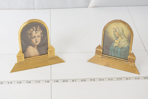 1900s Art Deco Christian Portraits Of Virgin Mary And Baby J