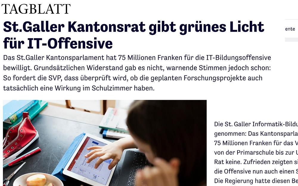 IT-Bildungsoffensive verabschiedet Tagblatt vom 13. Juni 2018