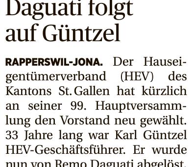 HEV SG: Wechsel in der Geschäftsführung beim städtischen und kantonalen HEV St.Gallen