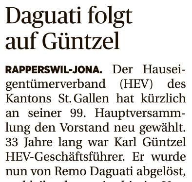 Remo Daguati LOC Consulting HEV Kanton Stadt St.Gallen Mandat
