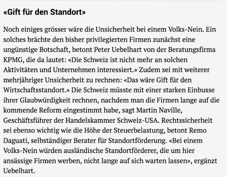 NZZ Hansueli Schöchli Remo Daguati Unternehmenssteuerreform LOC Consulting
