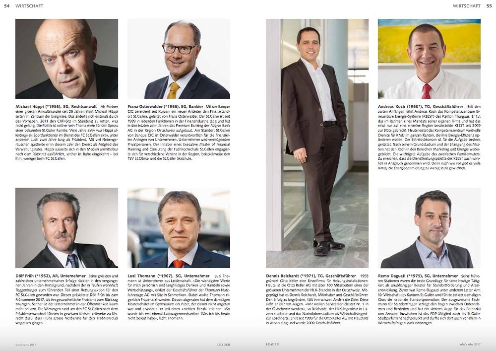 Who's Who 2017 Ostschweiz Leader Unternehmensmagazin