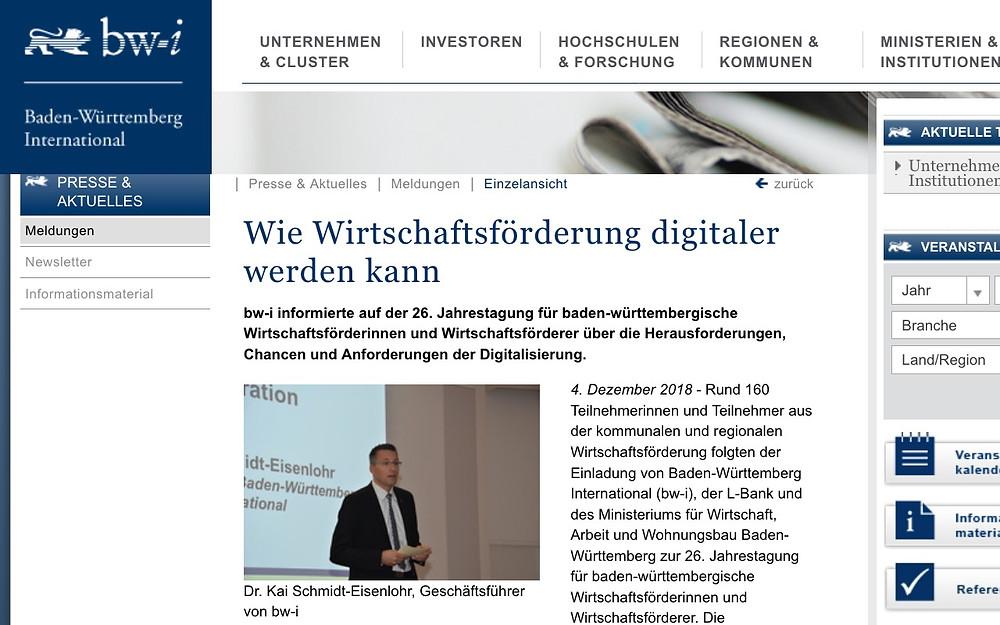 Digitalisierung in der Wirtschaftsförderung Jahresanlass bw-i Baden-Württemberg