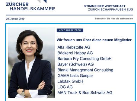 LOC AG ist Neumitglied bei Zürcher Handelskammer