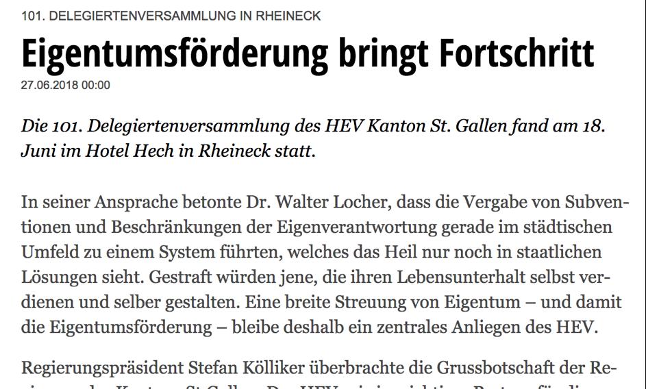 HEV Delegiertenversammlung 101. Jahre HEV Kanton St.Gallen