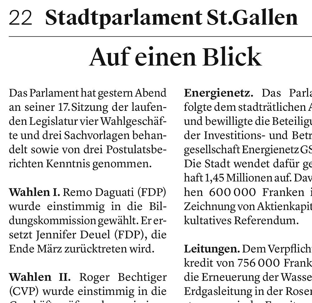 Zeitungsausschnitt Tagblatt vom 21. März 2017