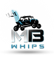 MB Whips Logo Side By Side LED lights, flags.