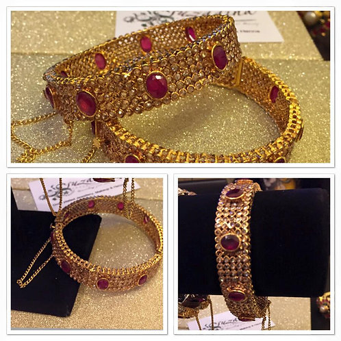 Swan 22k Gold plated Handcrafted rubies studded bangle.