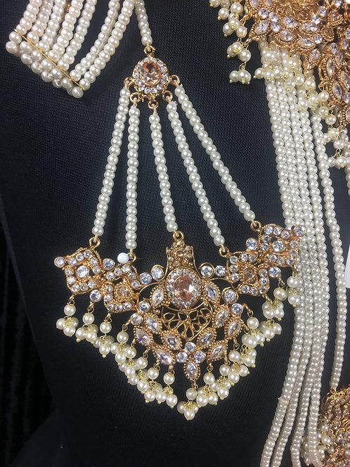 Shan e jehan 22k Gold plated Tikka and Jhumer Set.