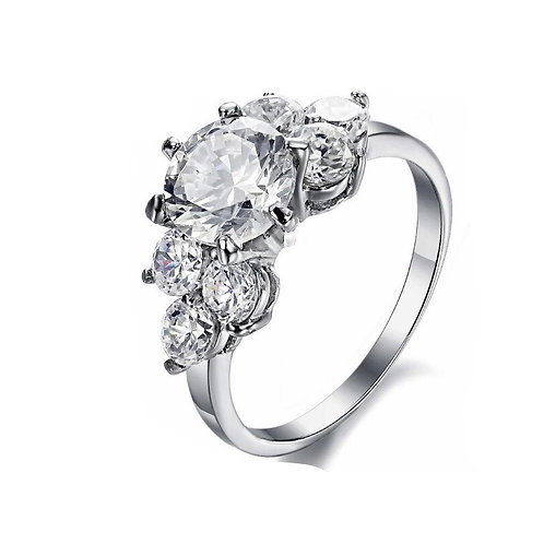 Twinkle White gold plated Zircon Ring