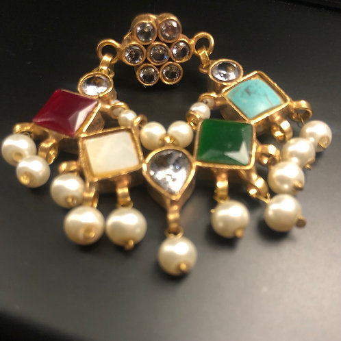 Norain 22k Gold plated Handcrafted Kundan and Pearls Multi stones Earrings.