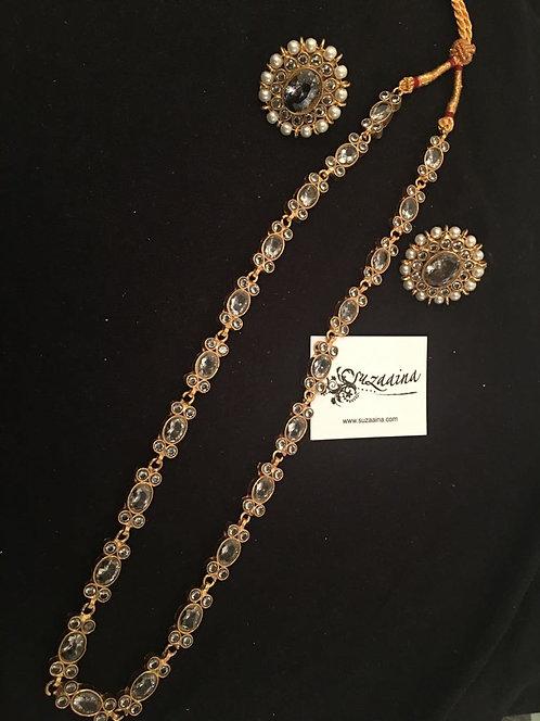 Nayaab Gold plated Handcrafted Kundan and Pearls Mala Set.