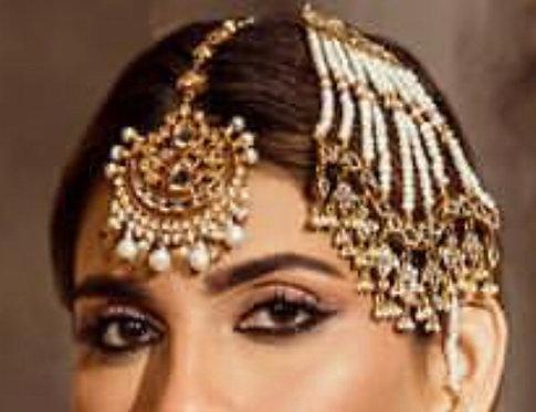 Rangrez 24k Gold Plated Handcrafted thappa kundan Tikka & Jhumer.