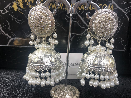 Areeba silver plated Jhumkey