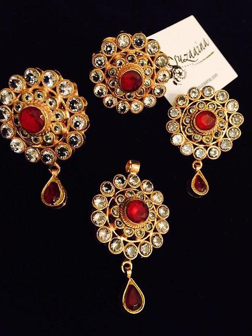 Nawab 24k Gold plated Kundan 4 pieces Pendant Set