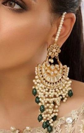 Faiqa 22k Gold plated Handcrafted Kundan Earrings.