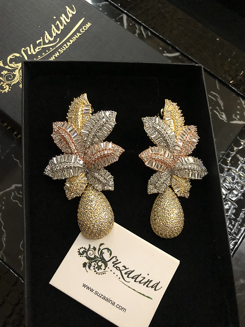 Zohra Gold Plated Luxury Flower Cluster Earrings.