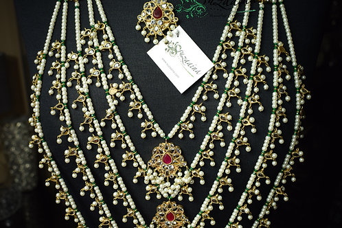 Naulakha 24k gold plated mala bridal set (available in all colour stones option)