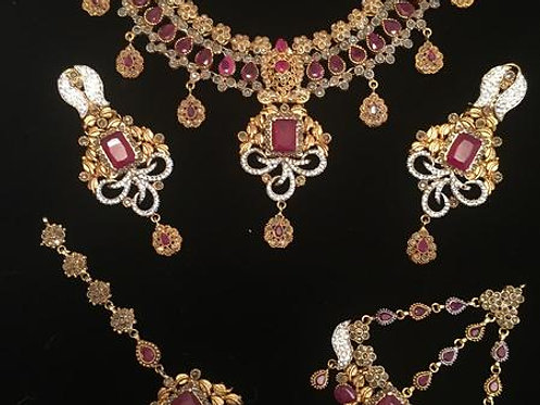 Zirka 22k Gold plated Hand crafted Bridal Set