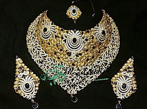 Anam 22k Gold Plated Sapphire Bridal Set