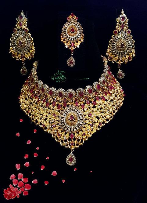 hoorab 22k Gold plated Handcrafted Bridal Set .