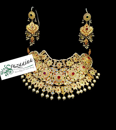Tehzeeb 24k Gold plated Handcrafted Bridal Set.