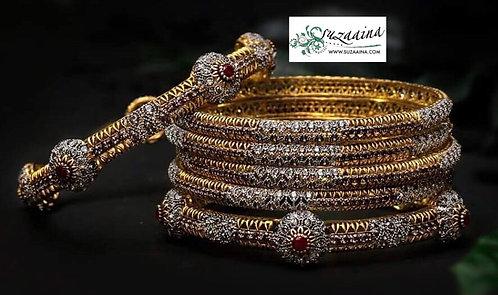 Humayma 22k Gold and Rhodium plated Set of Bangles