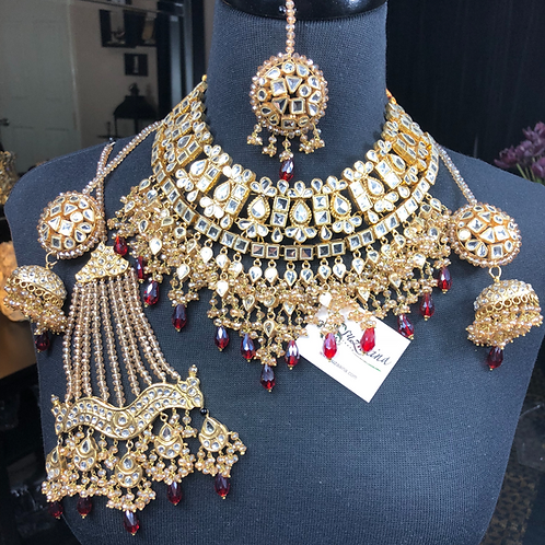 Mahrukh 22k Gold plated Handcrafted Kundan Bridal Set
